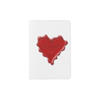 Alyssa. Sello rojo de la cera del corazón con Portapasaportes