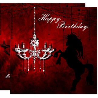 Alzar feliz cumpleaños del caballo y de la lámpara invitación 13,3 cm x 13,3cm
