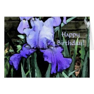 ¡AM feliz cumpleaños del iris azul! Tarjeta