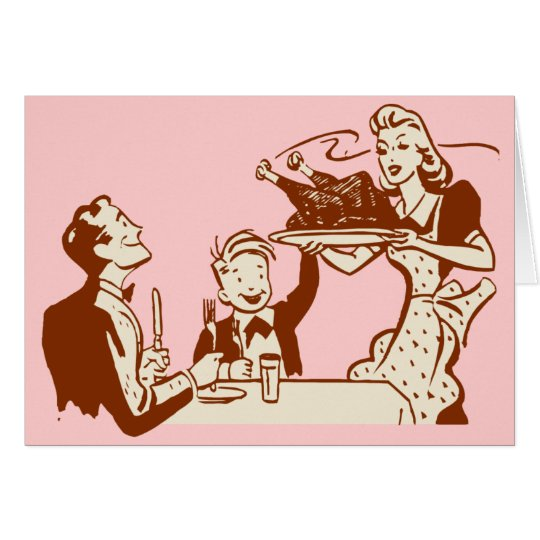 Ama de casa y familia retras tarjeta de felicitación