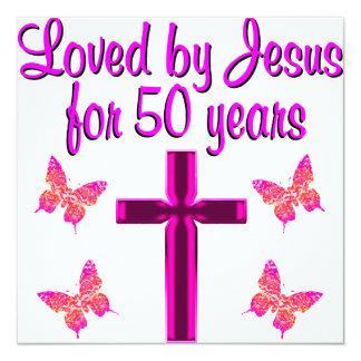 AMADO POR JESÚS POR 50 AÑOS INVITACIÓN 13,3 CM X 13,3CM