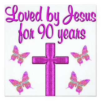 AMADO POR JESÚS POR 90 AÑOS INVITACIÓN 13,3 CM X 13,3CM