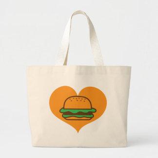 Amante de la hamburguesa bolsa tela grande