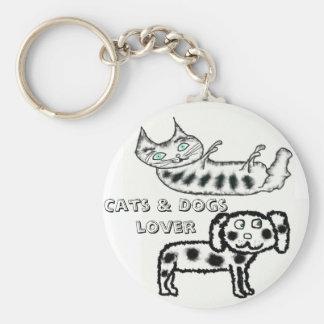 Amante de los gatos y de los perros llavero redondo tipo chapa