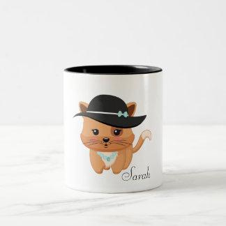 Amante del gato taza de café de dos colores