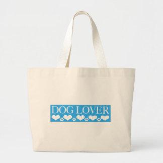 Amante del perro bolsa tela grande