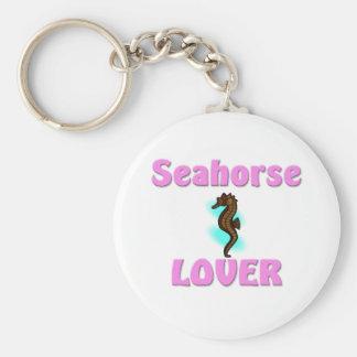 Amante del Seahorse Llavero Redondo Tipo Chapa