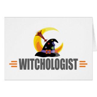 Amante divertido de la bruja de Halloween Tarjetón