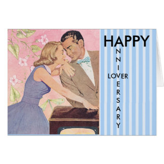 Amante feliz del aniversario, tarjeta de los pares