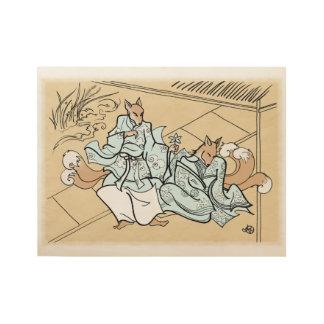 Amantes de Kitsune Póster De Madera