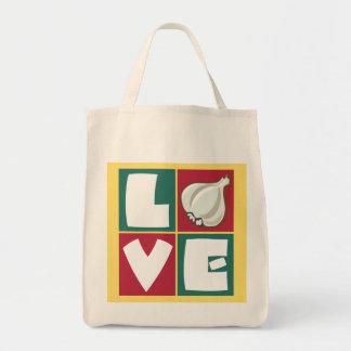 Amantes del ajo retros bolsa tela para la compra