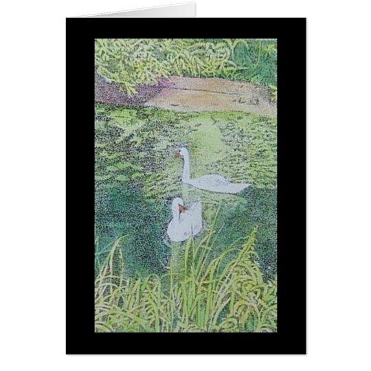 amantes del cisne tarjeta de felicitación