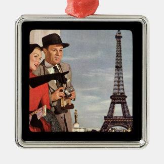 Amantes en París - ejemplo retro Adorno Navideño Cuadrado De Metal