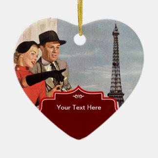 Amantes en París - ejemplo retro Adorno Navideño De Cerámica En Forma De Corazón