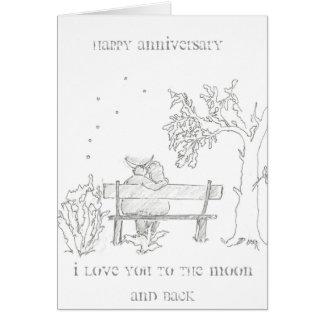 Amantes en una tarjeta del aniversario del banco