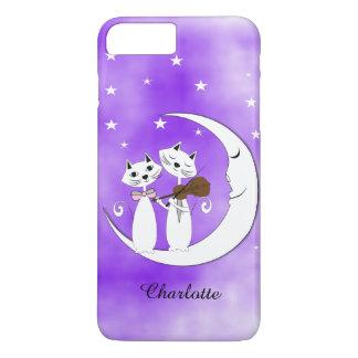 Amantes lindos del gato en la luna creciente funda para iPhone 8 plus/7 plus
