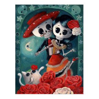 Amantes mexicanos esqueléticos muertos tarjetas postales
