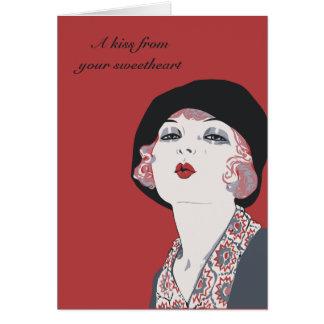 Amantes retros del chica de la aleta del estilo de tarjeta de felicitación