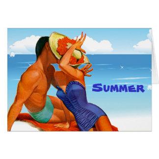 Amantes retros del verano tarjetas
