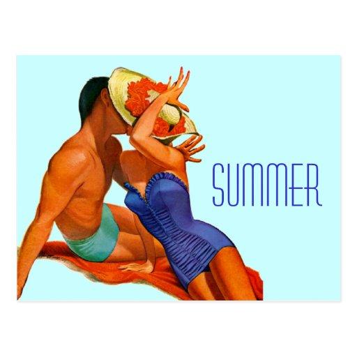 Amantes retros del verano postales
