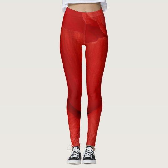 Amapola del rojo de las polainas leggings
