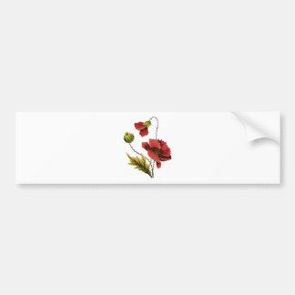 Amapola del rojo del bordado de la lana para borda pegatina de parachoque