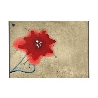 Amapola elegante del rojo de Swirly de la hoja iPad Mini Protector