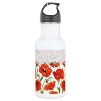 Amapola floreciente roja botella de agua