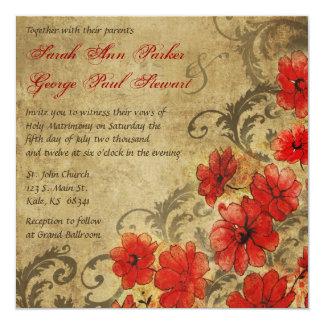 Amapola roja con el boda del vintage de los invitación 13,3 cm x 13,3cm