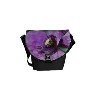Amapola/violeta púrpuras bolsa de mensajeria