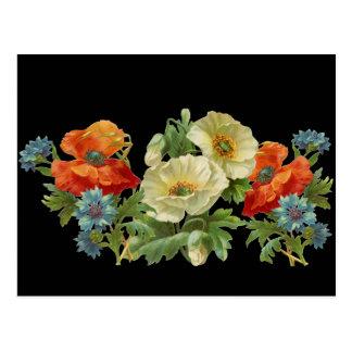 Amapola y postal floral del vintage de los