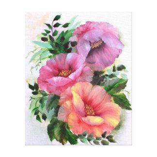 Amapolas amarillo-naranja rosadas florales lienzo