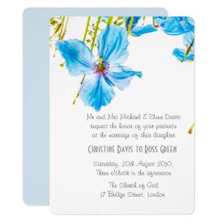 Amapolas azules, invitación floral del boda