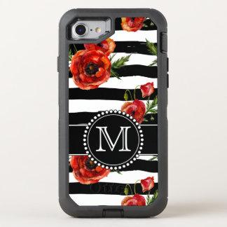 Amapolas blancos y negros, rojas, floral, cones funda OtterBox defender para iPhone 7