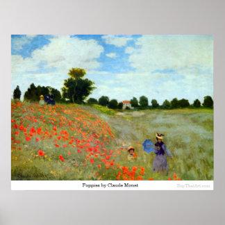 Amapolas de Claude Monet Póster