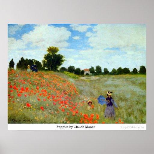Amapolas de Claude Monet Poster