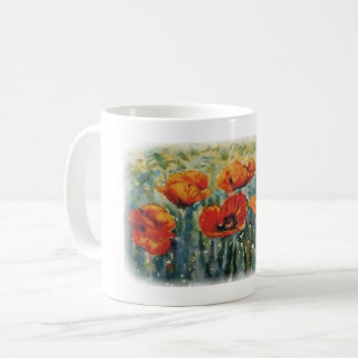 Amapolas de Wildf en watercolour Taza De Café