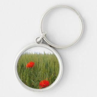 Amapolas en un llavero del campo de trigo