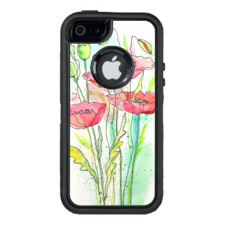 Amapolas pintadas de la acuarela funda otterbox para iPhone 5/5s/SE