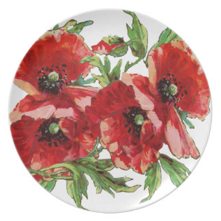 Amapolas, placa floral linda platos de comidas