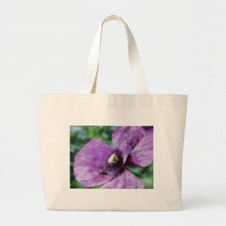 Amapolas púrpuras/violeta bolsa tela grande