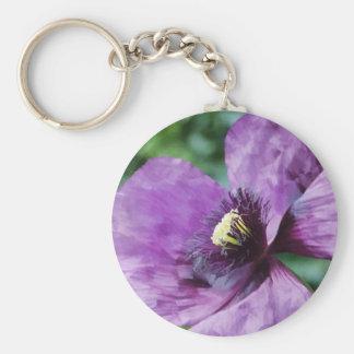 Amapolas púrpuras/violeta llavero redondo tipo chapa