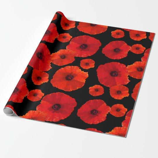 Amapolas rojas grandes en negro papel de regalo