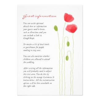 Amapolas rojas preciosas minimalistas que casan la invitacion personal