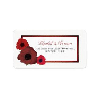 Amapolas rojas y boda de la arpillera etiquetas de dirección