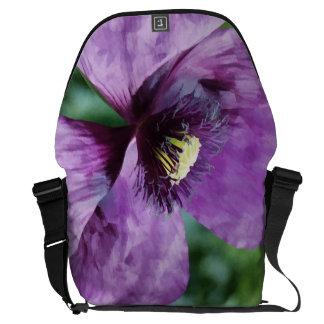 Amapolas violetas/amapolas púrpuras bolsa de mensajeria