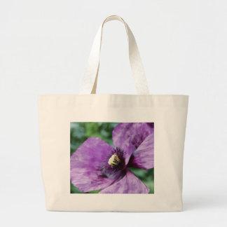 Amapolas violetas/amapolas púrpuras bolsa tela grande