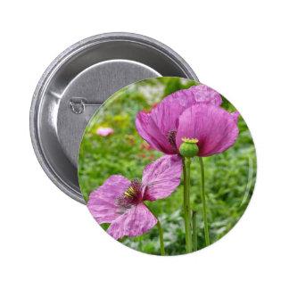 Amapolas violetas/amapolas púrpuras chapa redonda 5 cm