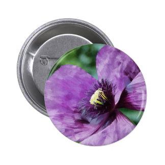 Amapolas violetas/amapolas púrpuras chapa redonda de 5 cm