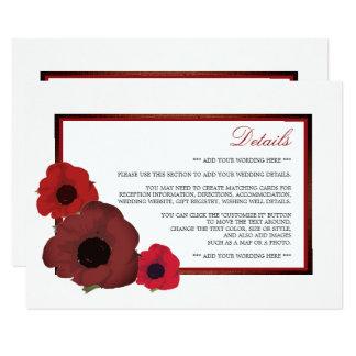 Amapolas y detalle rojos del boda de la arpillera invitación 11,4 x 15,8 cm